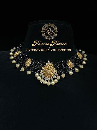 Black Crystals Peacock Necklace . Wt- 5.500gms