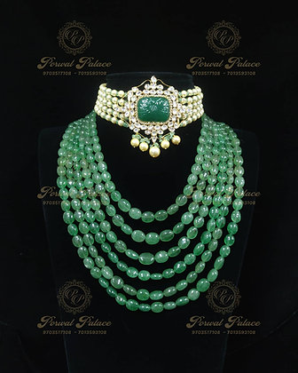 Beautiful Emeralds Kundan Lightweight Maha Rani Choker-12.600g