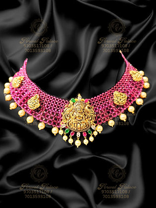 Beautiful Light Weight Lakshmi Necklace With RUBY Crystals-7.300g
