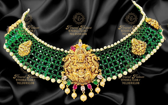 Beautiful Lightweight Lakshmi Emerads Necklace - 6.500g