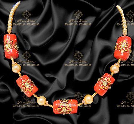 Beautiful Ultra Lightweight CORALS Kundan Beads Chain- 2.800g