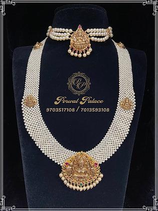 Grand Pearls Choker + Rani Haar Set . Wt-20gms