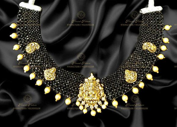 Beautiful Light Weight Lakshmi Devi Black Diamond Crystals Necklace
