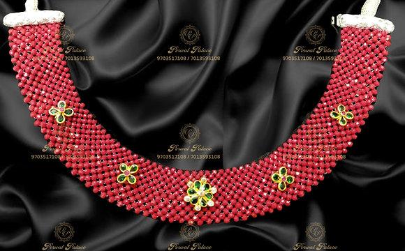 Beautiful Lightweight Corals Swarvoski AD Stones Necklace- 3.100g