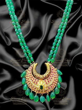 Beautiful Light Weight CHAND EMERALDS Beads Mala-13.500G