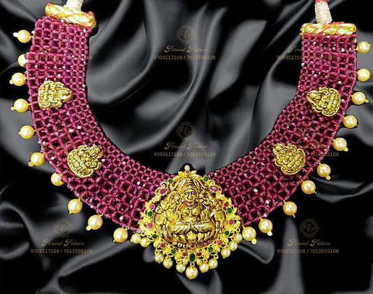 Beautiful Light Weight RUBY Lakshmi Devi Crystals Necklace-10.400G