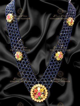 Beautiful Blue Sapphire Crystals Combined With NAVRATHNA Stones - 8.300g