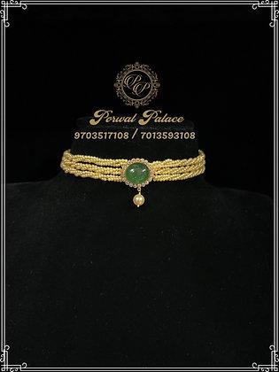 Emeralds Pearls choker . Wt-2.200 gms