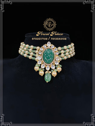 Emeralds Ganesha Gold Choker22kt 916 . Wt-7 gms