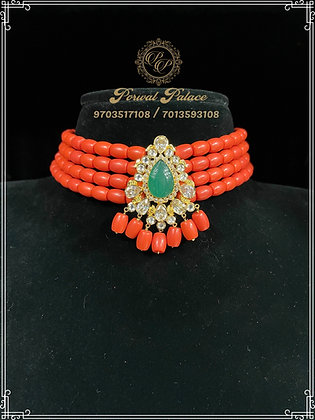 Corals And Emeralds Choker .Wt- 5 gms