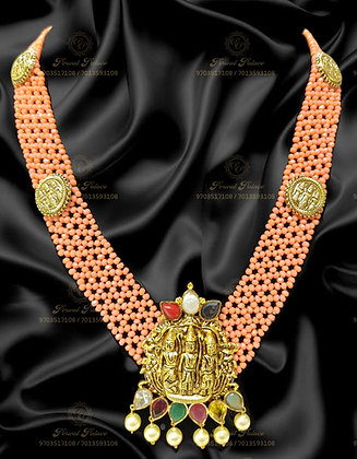Beautiful LightWeight RAMPARIVAR Haram With CORAL BEADS+NAVRATHNA Stones-8.150g