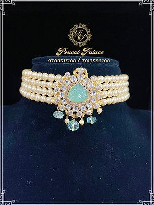 Emeralds Pearls Choker . Wt-6 gms
