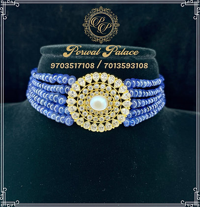 Gold Blue Tanzanites Czs Choker . Wt-6 gms