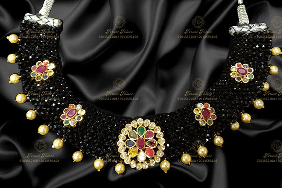 Beautiful Lightweight Navrathna Necklace with Black diamond Crystals -8.600GMS