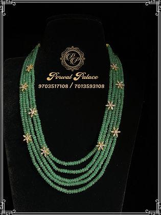 Emeralds Swarovski Flower Czs Layer Chain .Wt-11 gms