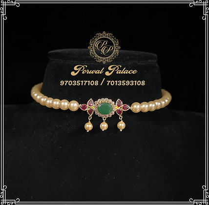Ruby Emeralds and Pearls Lightweight Choker . Wt-2.500s
