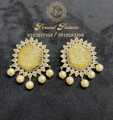 Grand Real Yellow Sapphire Earings . Wt-13.100 gms