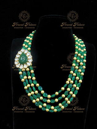Beautiful Emeralds Kundan Lightweight SIDE Pendant Chain-6.300G