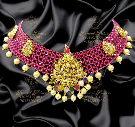 Beautiful Lightweight RUBY Necklace With Navrathna Stones+Pearls-7.400g