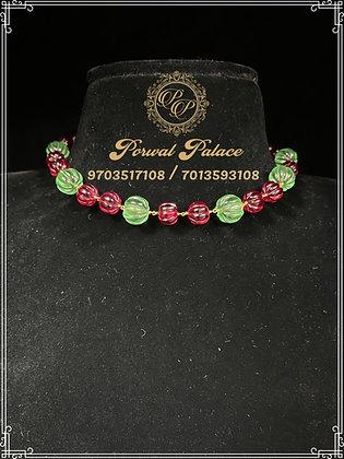 Ruby Emeralds Pumpkin Beads Chain . Wt-3.300 gms