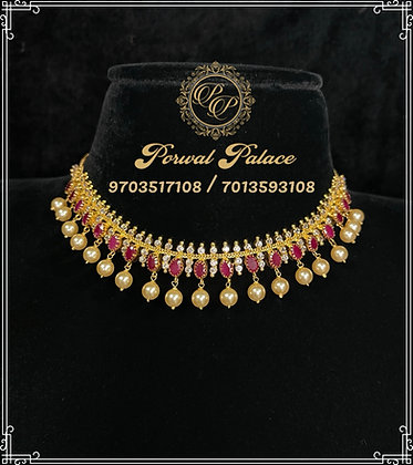 Ruby Czs Necklace . Wt-14.500 gms