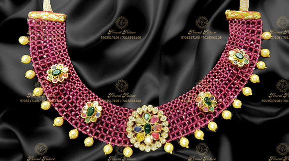 Beautiful Lightweight NAVRATHNA Necklace with RUBY CRYSTALS- 8.300G