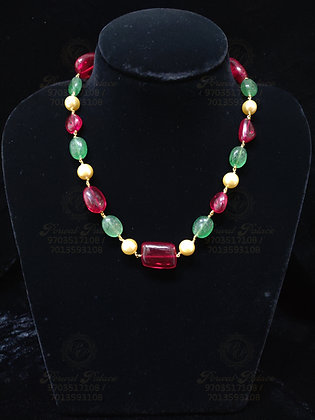 Beautiful Light Weight RUBY Chain Combined with Emeralds & Pearls-3.200G