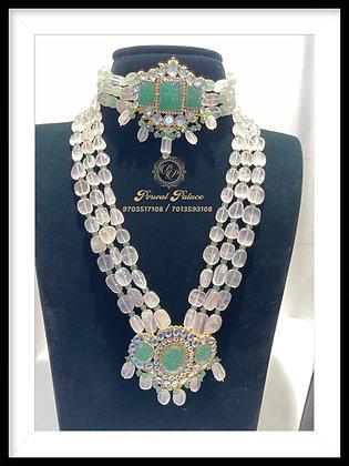 Emeralds and Rose Quartz Choker + Rani Haar set . Wt-21 gms