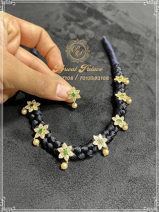 Black Thread Flower Czs Necklace + Tops.Wt-7.500 gms