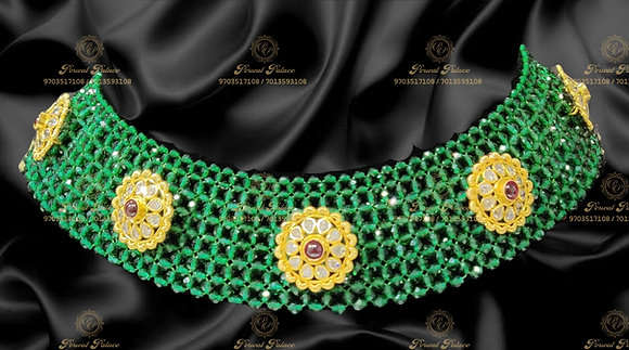 Beautiful Light Weight Emeralds Beads Necklace with Swarvoski Stones -7.100g