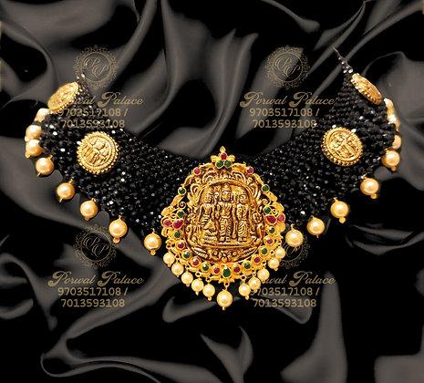 Beautiful Light Weight RAMPARIVAR Necklace with Black Diamond Crystals-11.200