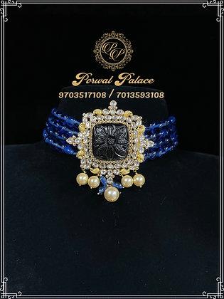 Blue Sapphires Carving Choker . Wt-12 gms