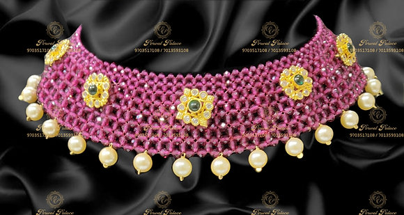 Beautiful Lightweight Swarvoski Stones Necklace with Ruby Crystals-5.300g