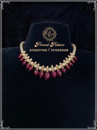Ruby Swarvsoki Pearls Necklace . Wt-6.500gms