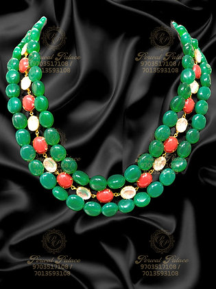 Beautiful Light Weight EMERALDS Beads Mala With Corals and Polki-6.100G
