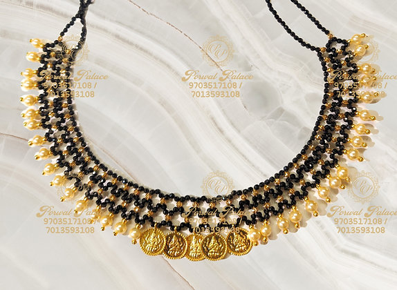 Beautiful Ultra Lightweight Lakshmi KASU Black diamond Crystals Mesh Neck-4.000g
