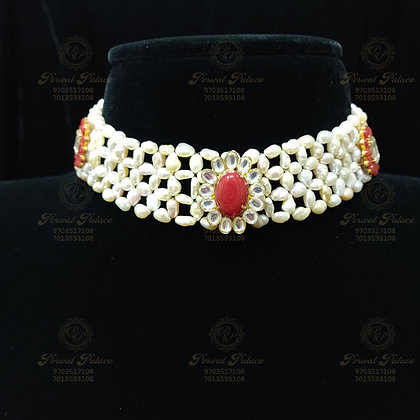 Beautiful Light Weight KESHI PEARLS Choker With Corals and Polki-4.500G