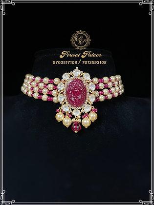 Ruby Pearls Lakshmi Devi Carving Gold Choker . Wt-8 gms