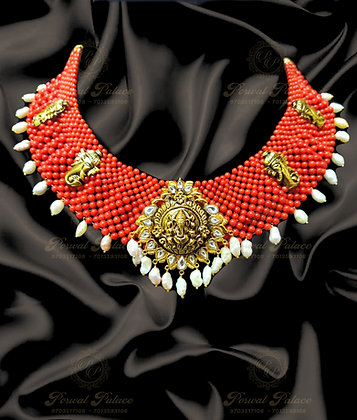 Beautiful CORALS GANESHA Necklace Combined with KUNDAN & KESHI PEARLS-9.000G