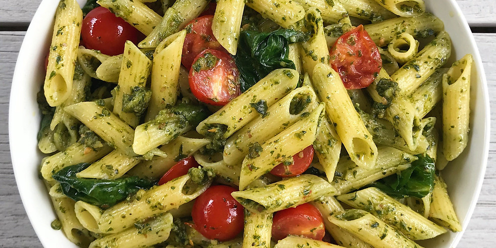 Penne Pasta with Fresh Pesto & Blistered Cherry Tomatoes