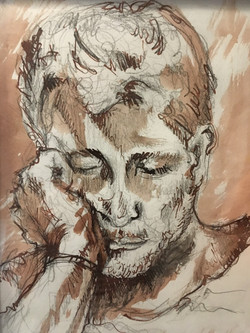 Sleeping Man, pencil, ink pen, and ink wash on paper