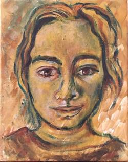Self-portrait, acrylic on canvas