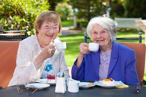 Two Elderly Female Best Friends Sitting