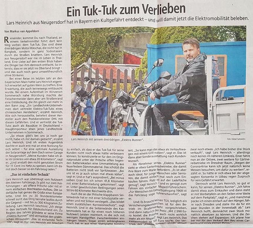Artikel Sächsische Zeitung 13. Mai 2020