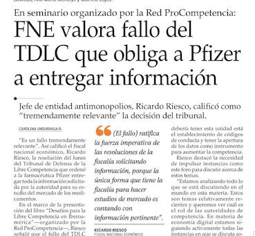 El Mercurio - FNE valora fallo del TDLC que obliga a Pfizer a entregar información
