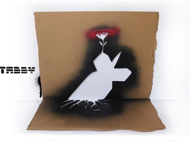 Flower Bomb, life goes on stencil