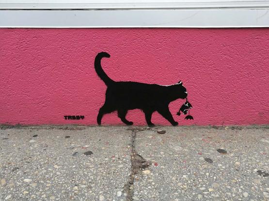 TABBY Cat vs Banksy Rat - Umbrella Rat