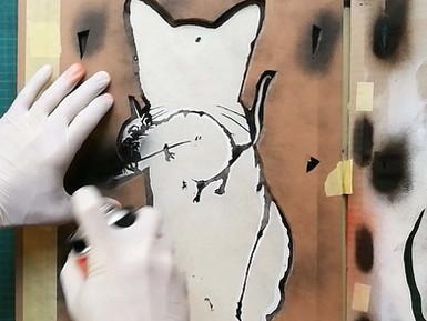 TABBY Cat vs Banksy Rat - Street Heart, Quick Folding Stencil