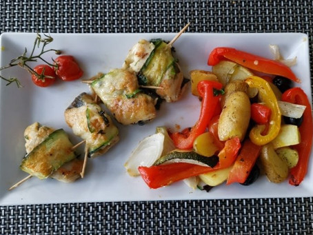 Felchenröllchen mit Ofenkartoffeln und Gemüse