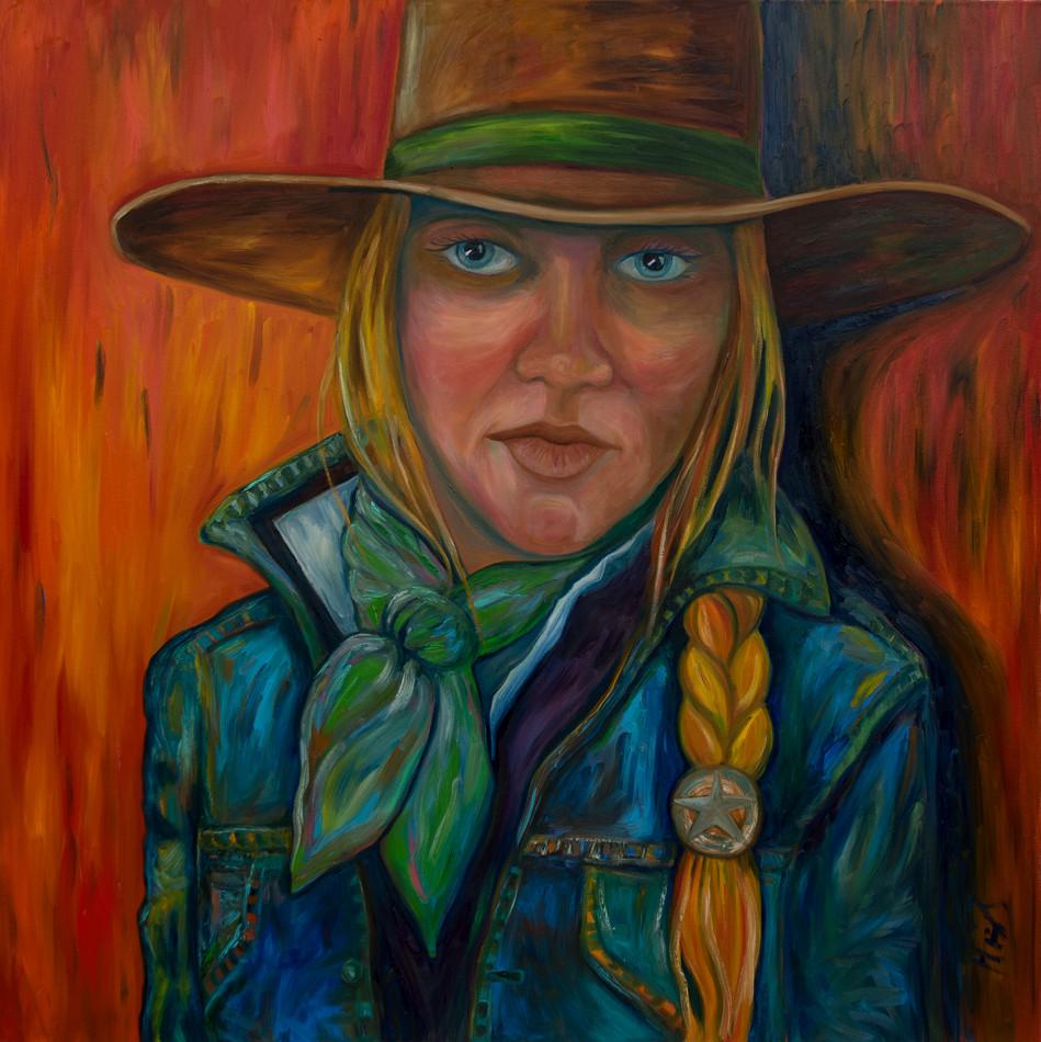 Cowgirl in denim 48x48